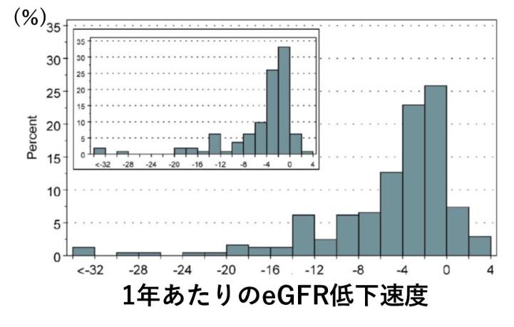 まさに今のGFR低下速度が、将来の腎予後を決める